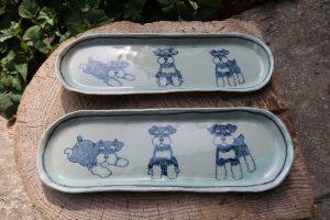 シュナウザー長楕円皿 陶芸 シュナウザー pottery Schnauzer