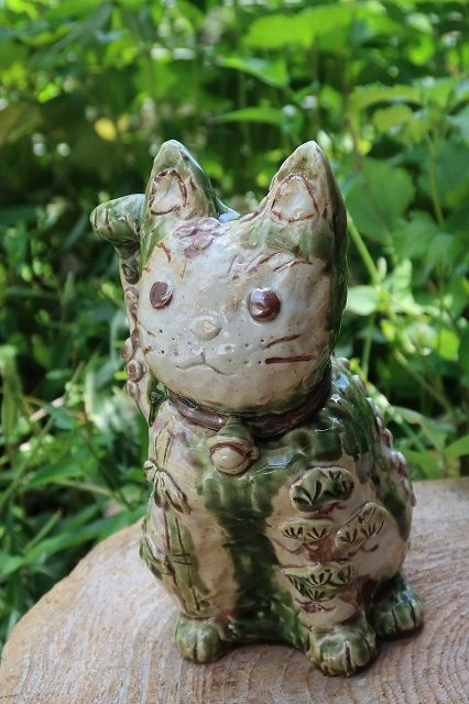織部招き猫 陶芸